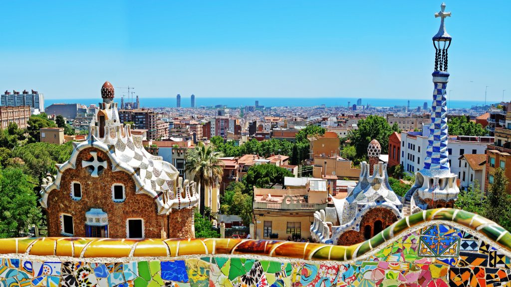Park Guell by architect Antoni Gaudi in Barcelona, Spain, off-shore tour in Barcelona